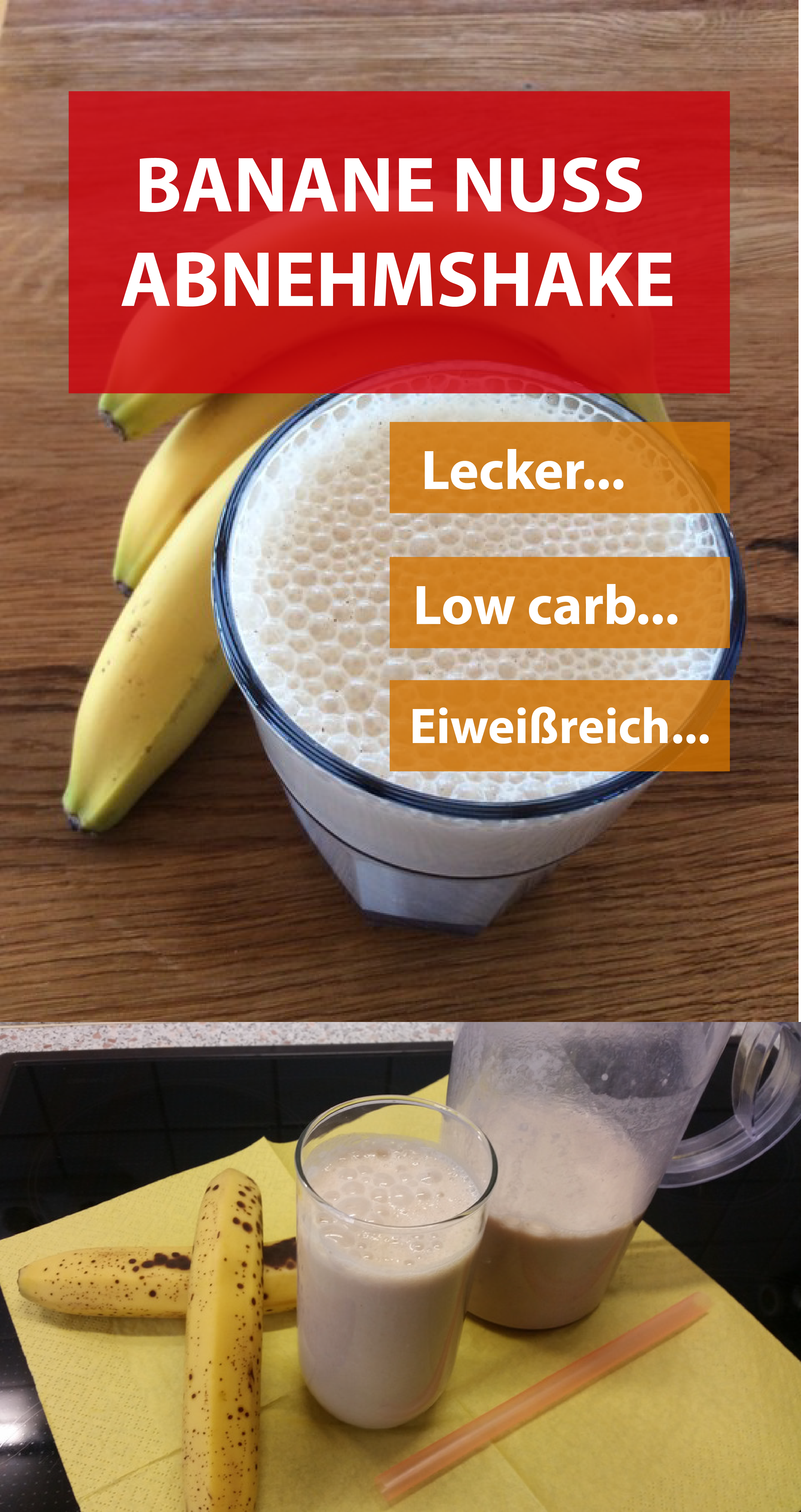 BANANE NUSS ABNEHMSHAKE - Selbstgemachter Banane Nuss Eiweißshake
