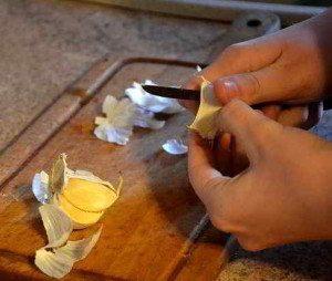 Für die Knoblauchtinktur die Knolle zerkleinern